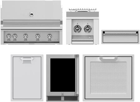"""Hestan 7 Piece Grill Package with 42"""" Gas Grill  12"""" Side Burner  24"""" Access Door  30"""" Storage Drawer  24"""" Compact Refrigerator  20"""" Storage Drawer and"""