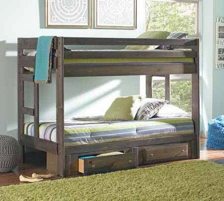 Wrangle Hill Collection 400831+400832 Twin Size Bunk Bed with 2 Under Bed Storage Drawers  Full Length Guardrails  Clean Line Design and Solid Pine Wood