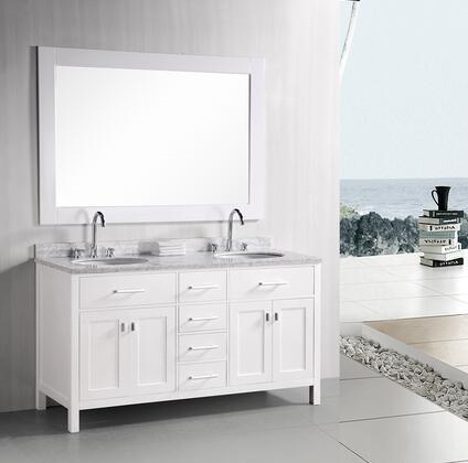 DEC076A-W London 61 inch  Double Sink Vanity Set in
