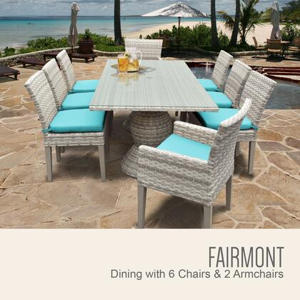 Fairmont-rectangle-kit-6adc2dcc-aruba Fairmont Rectangular Outdoor Patio Dining Table With 6 Armless Chairs And 2 Chairs W/ Arms With 2 Covers: Beige And