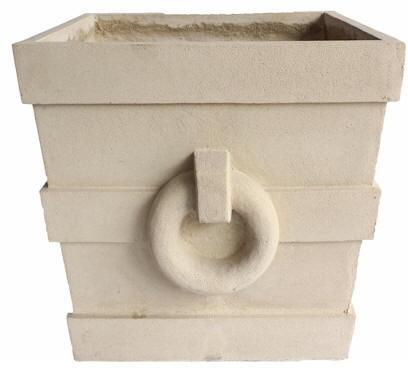 Aztec Collection PL-S2424 24 Square Planter with Cast Limestone Construction and Traditional Features in Natural
