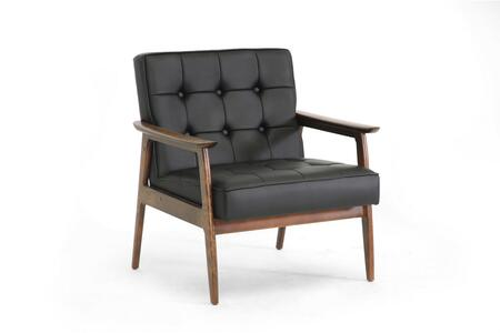WIKI-CN-A-BLACK Baxton Studio Stratham Mid-Century Modern Club Chair  In