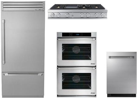 4-Piece Stainless Steel Kitchen Package with DYF36BFTSR 36 inch  Bottom Freezer Refrigerator  DTT48M976LS 48 inch  Gas Cooktop  RNWO230PS 30 inch  Double Wall Oven  and