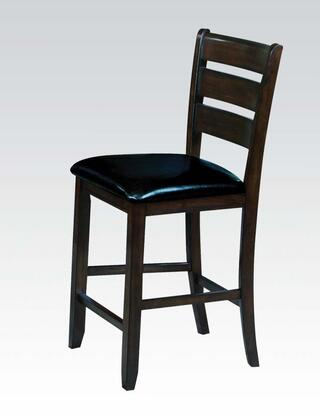 Urbana Collection 74633 Set of 2 25 inch  Counter Height Chairs with Ladder Wood Back  Tapered Legs  Black Bycast PU Leather Seat Cushion and Rubberwood
