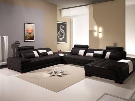 VGEV-SP-5005BBLK Divani Casa 5005B - Modern Bonded Leather Sectional Sofa w Ottoman and Glass End