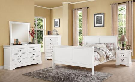Louis Philippe III Collection 24494CK5PC Bedroom Set with California King Size Bed + Dresser + Mirror + Chest + Nightstand in White