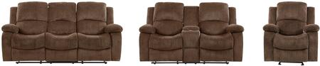 U3118C - SUBARU COFFEE - RSCRLSGR 3-Piece Living Room Set with Reclining Sofa  Reclining Loveseat and Recliner in Subaru