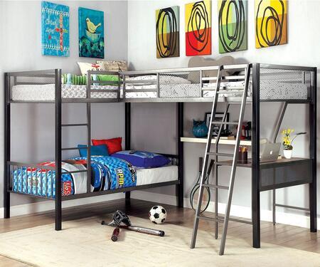 Ballarat Cm-bk1049 L-shaped Triple Twin Bunk Bed  In Gray And