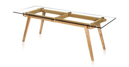 DT-STICOTTI-15-NAT Sticotti Mid-Century Modern Dining Table  Ash Wood/Glass