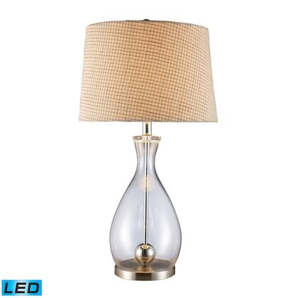 D1975-LED Longport LED Table Lamp In Clear Glass And Chrome With Linen