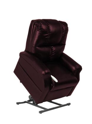 Main Street NM2001-SKG-A01 33 inch  Power Recliner Lift Chair with 3 Position Mechanism  Divided Back  and Sinuous Spring and Foam Seat in Lexi Burgundy