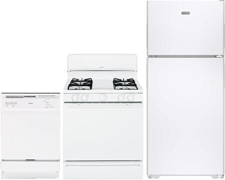 3-Piece White Kitchen Package with HPS15BTHLWW 28 inch  Top Freezer Refrigerator  RGA724EKWH 24 inch  Freestanding Gas Range  and HDA2100HWW 24 inch  Full Console