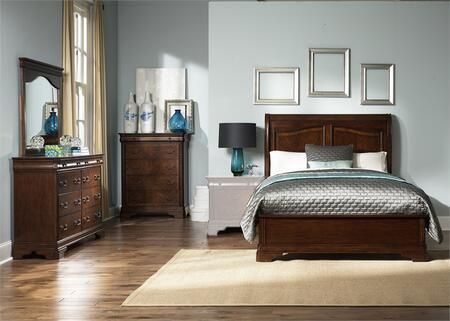 Alexandria Collection 722-BR-KSLDMC 4-Piece Bedroom Set with King Sleigh Bed  Dresser  Mirror and Chest in Autumn Brown