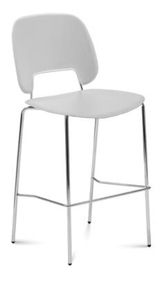 TRAFF.R.A0F.CR.PGC Traffic Stacking Chair with Chrome Frame  Foot Rest and Polypropylene Seat and Back in Light