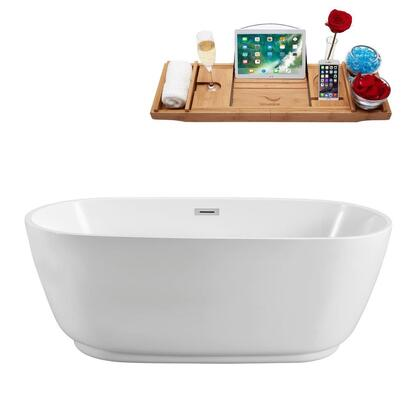 N56059FSWHFM 59 inch  Soaking Freestanding Tub with Internal Drain  Chrome Color Drain Assembly  144 Gallons Water Capacity  and Acrylic/Fiberglass Construction  in