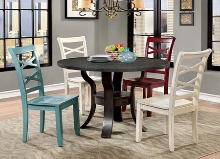 Gisela Collection CM3518RT2WSC2SC 5-Piece Dining Room Set with Round Table  2 White Side Chairs and Red and Blue Side Chairs in