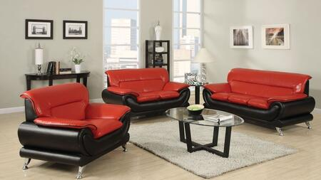 Orel 50710SLC 3 PC Living Room Set with Sofa + Loveseat + Chair in Red and Black