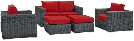 Summon Collection EEI-1893-GRY-RED-SET 5-Piece Outdoor Patio Sunbrella Sectional Set with Loveseat  2 Armchairs and 2 Ottomans in Canvas Red