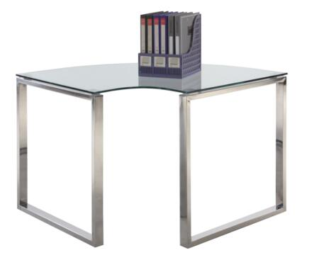 "Chintaly 6931-DSK-CRN 40.94"""" Corner Clear Glass Computer Desk with Stainless Steel Legs and Glass"" 692881"