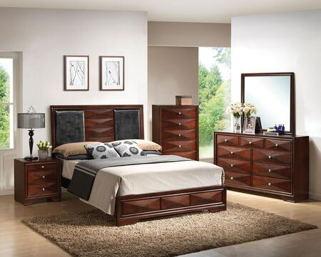 21917EK5PCSET Windsor E. King Size Bed + Dresser + Mirror + Nightstand + Chest with Black PU Upholstery in Merlot