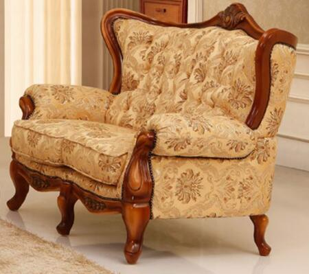 995FBEIGEL Traditional Style Loveseat with Finest Fabric Upholstery in Gold/Beige  Crown-like Design on Top and Hand Carved Wooden Frame in Matte Walnut