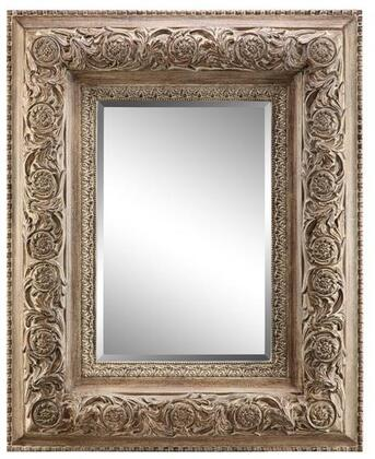 Samira Manor Collection 13459 76 inch  Wall Mirror with Intricate Raised Design  Rectangular Shape and Powder Glaze in