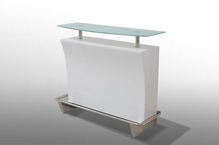 VGGU448 Bacco Collection White Lacquer Bar Unit with Frosted Glass Top and Stainless Steel