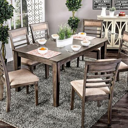 Taylah CM3607T-7PK 7 Pc. Dining Table Set with Transitional Style  Padded Fabric Cushions  Slat Back Chair  Solid Wood  Wood Veneer  Others* in Weathered