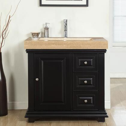 V0285TR36L 36 inch  Single Sink Left Cabinet with 3 Drawers  1 Door  Travertine Top and Ramp Sink