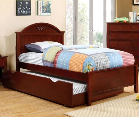 Medina Collection CM7942CH-T-BED+TR Twin Size Panel Bed with Trundle  Camel-Shaped Headboard  Low Profile Footboard  Tapered Legs and Solid Wood Construction