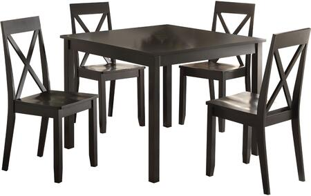 Zlipury Collection 72510 5 PC Dining Room Set with 4 Side Chairs  Solid Wood Top Table  Wooden Seat