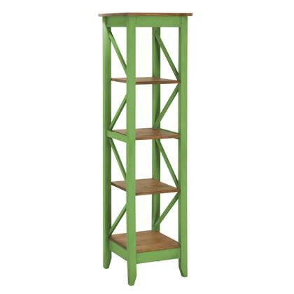 """Jay 2.0 Collection CS34004 19"""" Solid Wood Bookcase with 4 Open Shelves and Lifted Base in Green"""