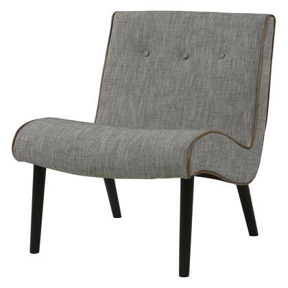 Alexis Collection 353031-89-B Chair with Black Legs  Button Tufted Detailing and Fabric Upholstery in Wolf