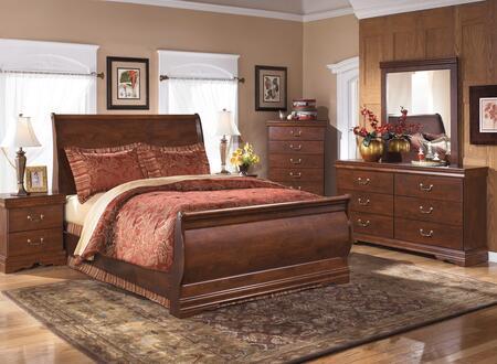 Wilmington Queen Bedroom Set With Sleigh Bed  Dresser  Mirror And Chest In Reddish