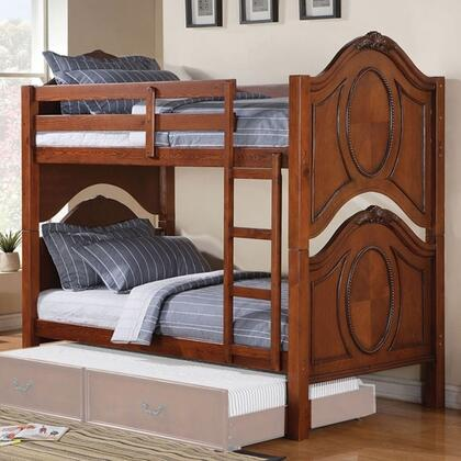 Classique Collection 37005 Twin Over Twin Size Bunk Bed with Front Ladder  Easy Access Guard Rails  Birch Veneer and Pine Wood Construction in Cherry