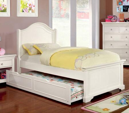 Mullan Collection CM7943WH-T-BED-TRUND Twin Size Bed with Low Footboard  Soft Curved Design  Slat Kit Included  Solid Wood and Wood Veneers Construction in