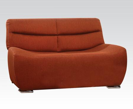 Kainda Collection 51711 61 inch  Loveseat with Chrome Legs  Wood Frame  Tight Back and Seat Cushions and Linen Upholstery in Orange