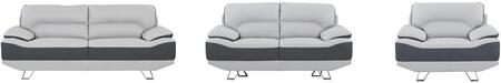 U7330-R6U6-SLCH 3-Piece Living Room Set with Sofa  Loveseat and Chair in Natalie Light Grey and Dark