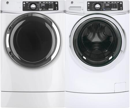 Front Load Steam GFW490RSKWW 28 Washer with GFD49GRSKWW 28 Gas Dryer Laundry Pair in