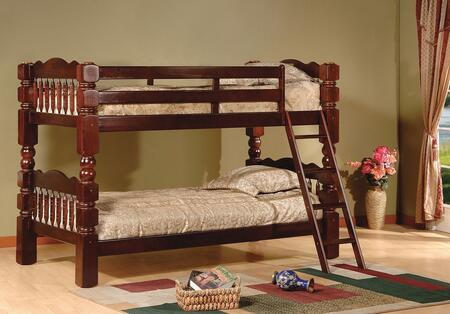 Cory Collection Twin Over Twin Size Bunk Bed with Turned Posts  Ladder Included  Solid Hardwood Construction and Wood Veneer Material in Cherry