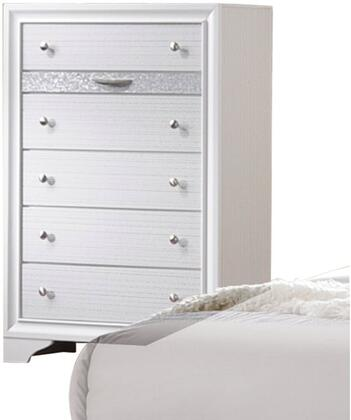 Naima Collection 25776 34 inch  Chest with 6 Drawers  Silver Metal Hardware  Light Grey Acrylic Trim  Rubberwood and Chipboard Materials in White