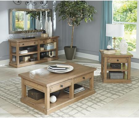 Florence Collection 705408SET 3 PC Living Room Table Sets with Coffee Table + End Table + Sofa Table in Rustic Smoke