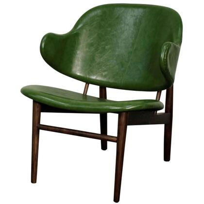 Doyle Collection 413035P-D7-DT Chair with Dark Walnut Legs  Curved Shaped Arms and PU Leather Upholstery in Distressed