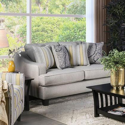 Wilkie SM8311-LV Loveseat with Solid Wood Tapered Legs  Piped Stitching and Fabric Upholstery in Light