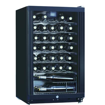 WHS-144W 3.9CF 35 Bottle Wine Cooler with Adjustable Thermostat  Slide-out Adjustable Shelves  Incandescence Interior Lamp and Safety See-through Door in
