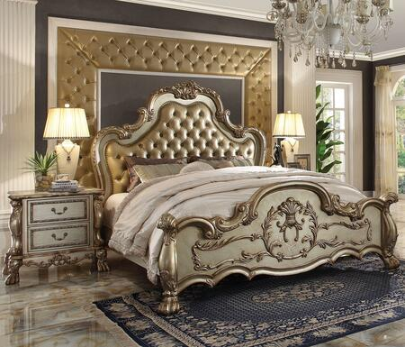 Dresden Collection 23160Q2N 3 PC Bedroom Set with Queen Size Panel Bed + 2 Nightstands in Gold Patina