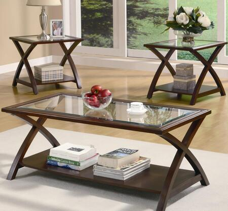 Ocacasional Table Sets Collection 701527 3 PC Living Room Table Set with Tempered Glass Top Inserts  Bottom Shelf  X-Design Support and Transitional Design in