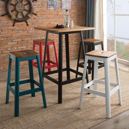 Jacotte Collection 72330SET 5 PC Bar Table Set with Bar Table + 1 White Bar Stool + 1 Black Bar Stool + 1 Teal Bar Stool + + Red Bar Stool in Natural