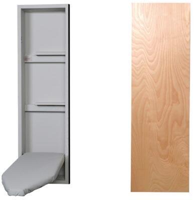 """NE42WDU 15"""" Ironing Center with  Storage Shelves  Garment Bar  Full Length Piano Hinge and Hot Iron Storage: Wood"""