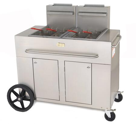 "CV-PF-2-LP 53"""" Double Tank Outdoor Portable Fryer with 180 000 BTU/H  80 lbs. Capacity  Millivolt Thermostat Control  Four Fry Baskets and Heat Exchanger Tubes"" 537947"
